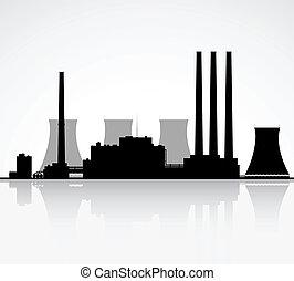 planta nuclear, silueta, potencia