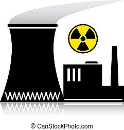 planta nuclear, vetorial, silueta, poder