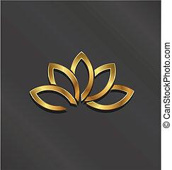planta, Ouro, loto, imagem, luxo, logotipo