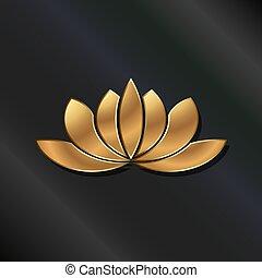 planta, Ouro, loto, luxo, logotipo, frondoso