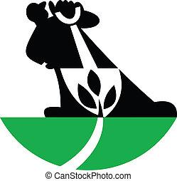 planta, pá, landscaper, cavando, jardineiro