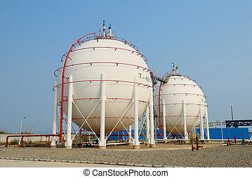 planta, petrochemical, gás, tanques