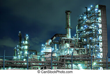 planta,  Petrochemical, noturna