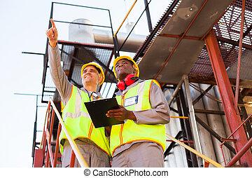planta, petrochemical, trabalhadores, trabalhando