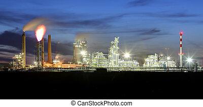 planta petroquímica, por la noche, aceite y gas, industrial