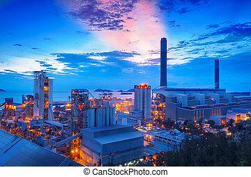 planta, poder, cimento, carvão, estação, noturna