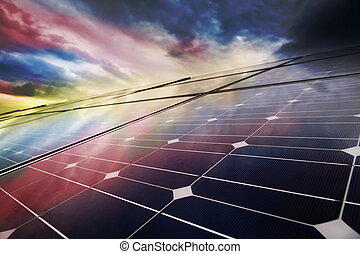 planta, poder, energia, solar, usando, renovável