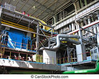 planta, poder, maquinaria, turbina, tubos, vapor