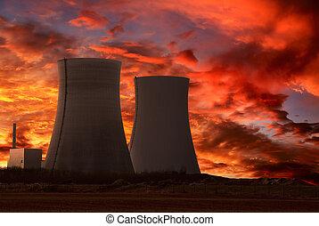 planta, poder, nuclear, céu, intenso, vermelho