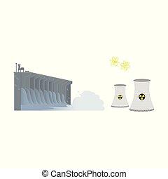 planta, poder, nuclear, hidroelétrico, producao, represa