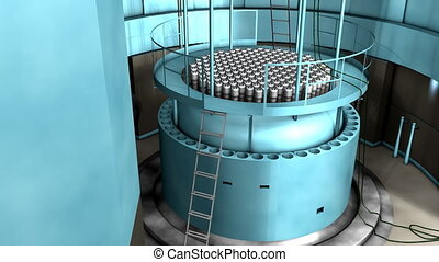planta poder, reator nuclear, interior, vista.