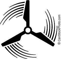 planta, poder, símbolo, movimento, hélice, linha, vento