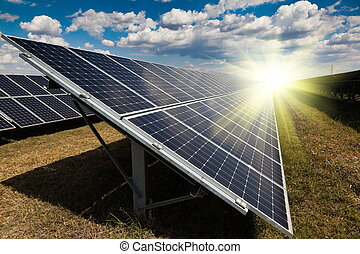 planta poder, usando, renovável, energia solar