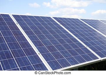 planta poder, usando, renovável, solar, energy.