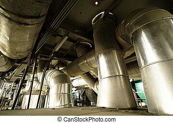 planta, potencia, formado, tubos, diferente, válvulas, tamaño