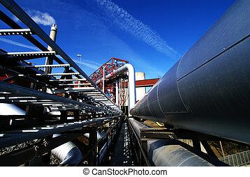 planta, potencia, formado, tubos, diferente, válvulas, ...