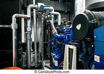planta, potencia, moderno, fábrica, termal, tubería
