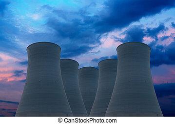 planta, potencia, torres, tapas, enfriamiento, atómico