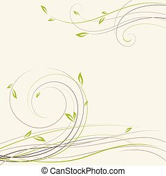planta, primavera, abstratos, algum, redemoinhos, fundo