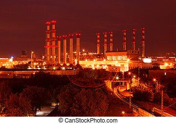 planta, producto petroquímico, escénico, refinería, aceite, shines, night.