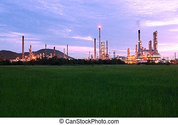 planta, producto petroquímico, escénico, refinería, campo, aceite, verde, noche, shines, pasto o césped