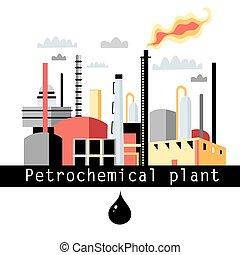 planta, producto petroquímico, ilustración