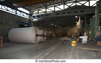planta,  -, Pulpa, papel, molino, cartón, Rollos