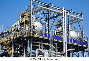 planta química, em, a, céu azul