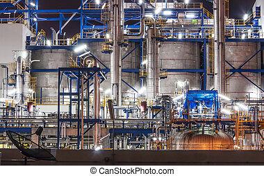 planta química, escena, noche