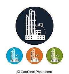 planta química, procesamiento, ilustración, refinería, vector, o, icono