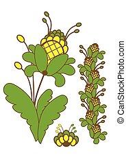 planta verde, com, amarela, flowers., vetorial