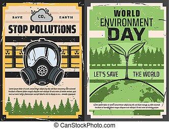 planta, verde, gas, desperdicio, tierra, tóxico, máscara