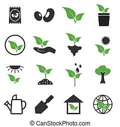 planta, vetorial, jogo, ícones