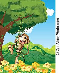planta, vid, mono, pegajoso