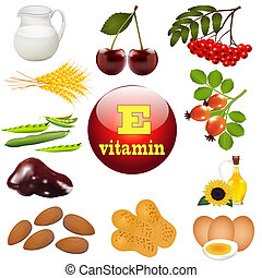 planta, vitamina e, origen, alimentos, ilustración
