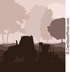 plantación, cosechas, campo, vector, sembradora, tractor