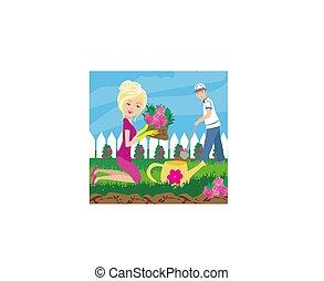 plantación, flores, en, jardín