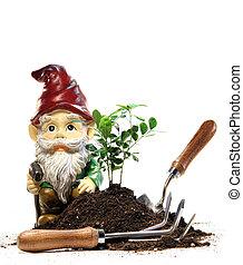 plantación, gnomo, herramientas, jardín, primavera