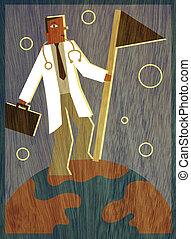 plantación, maletín, doctor, cima, bandera, tenencia, mundo