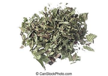 Plantago lanceolata herb - Pile of dry crumbled plantain...