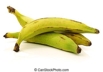 plantain (baking) bananas - fresh still unripe plantain...