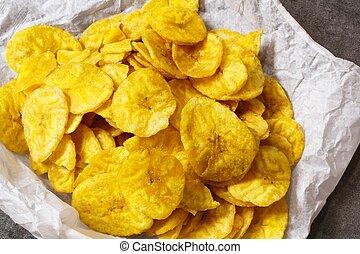 Plantain Banana Chips close up view
