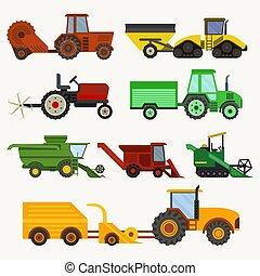 plantar, combina, jogo, harvester, mowing, arar, veículos, ...