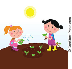 plantar, crianças, jardim, plantas