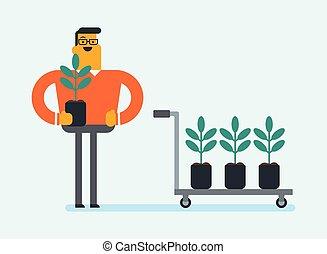 plantar, jovem, árvore., caucasian branco, jardineiro