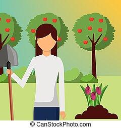 plantar, mulher, pá, jardim, jardineiro