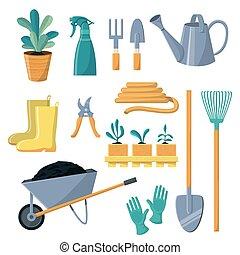 plantas, ancinho, pá, jardinagem, jardim, fazenda, pote, aguando, isolado, ilustração, ou, equipamento, jogo, vetorial, cobrança, fundo, branca, ferramenta cultivando, jardineiro, lata