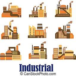 plantas, apartamento, fábricas, industrial, ícones