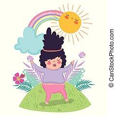plantas, arco íris, menina, desfrutando, sol