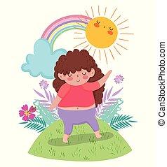 plantas, arco íris, menina, tocando, sol